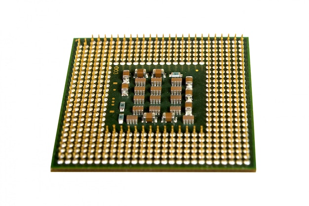 Los micro elementos de la unidad de procesador central de la computadora, pines de contacto de la cpu