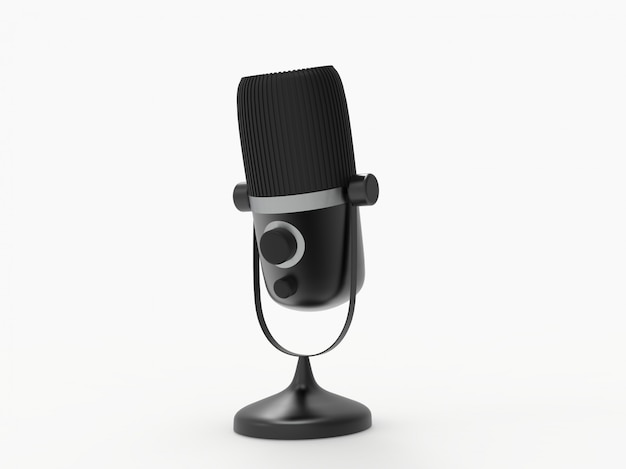 Micrófono 3d programa de radio o concepto de podcast de audio. ilustración 3d de micrófono vintage
