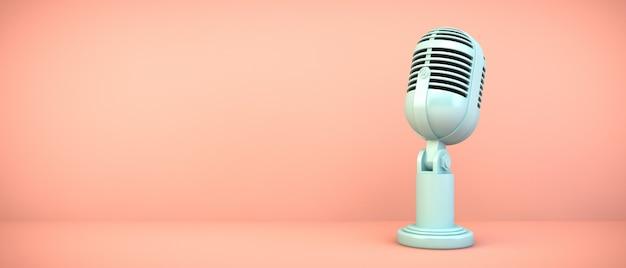 Micrófono azul en sala rosa, render 3d