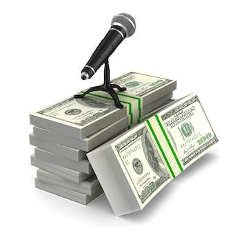 Micrófono y dinero en blanco.