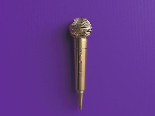 Micrófono dorado en concepto de fondo mate. ilustración 3d