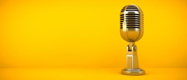Micrófono dorado en sala amarilla, render 3d