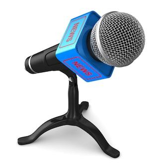 Micrófono en espacio en blanco. ilustración 3d aislada