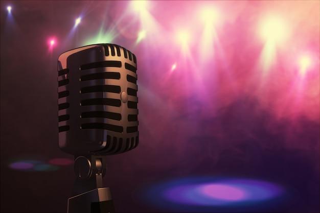 Micrófono de estilo retro en el escenario en el centro de atención del grupo musical. micrófono para música rock, rock and roll y rockabilly. renderizado 3d