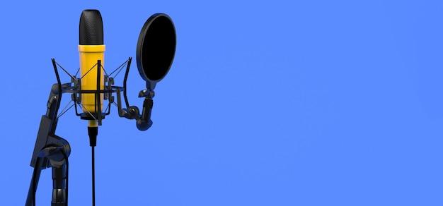 Micrófono de estudio. banner para podcast o publicidad. ilustración 3d.