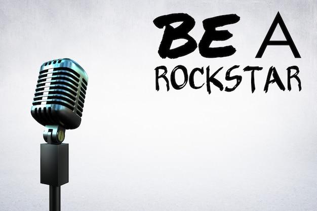 Micrófono con un mensaje motivacional