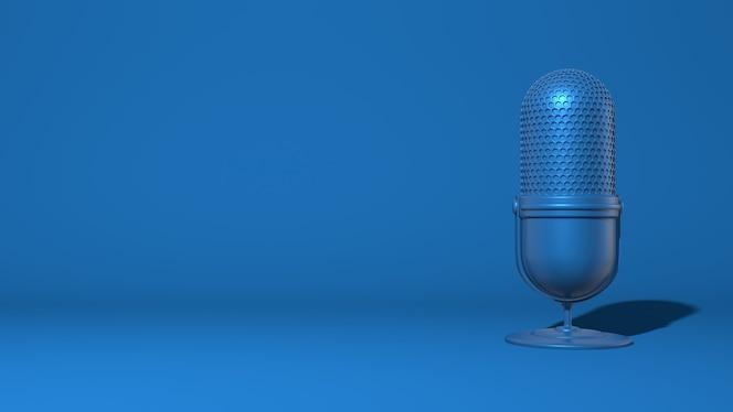 Micrófono moderno para una transmisión, video blogger. color azul clásico de moda. renderizado 3d