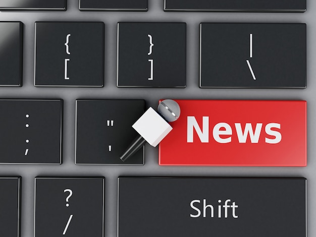 Micrófono de noticias 3d y teclado de computadora.