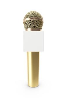 Micrófono de oro aislado en blanco