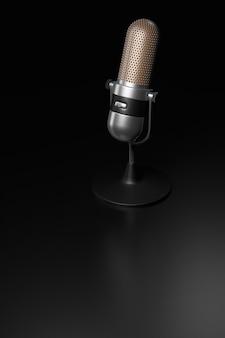 Micrófono de plata vintage sobre un render 3d de superficie oscura.