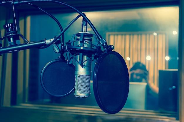 Micrófono profesional de estudio de condensador, concepto musical.