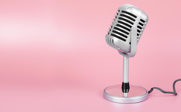 Micrófono retro con espacio de copia sobre fondo rosa