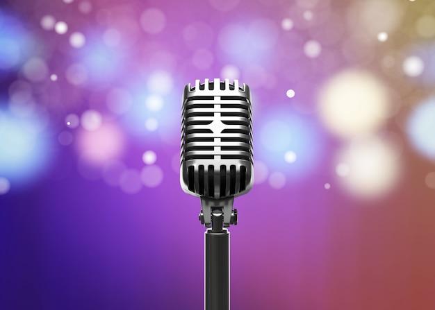El micrófono retro con las luces borrosas 3d rinde