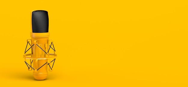 Micrófono sobre fondo amarillo. banner para podcast o publicidad. ilustración 3d.