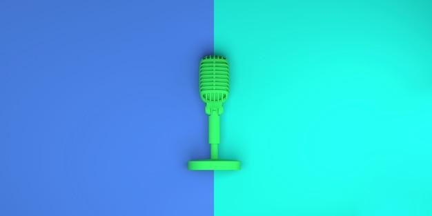 Micrófono sobre fondo verde y azul. vista superior. endecha plana. ilustración 3d. bandera.