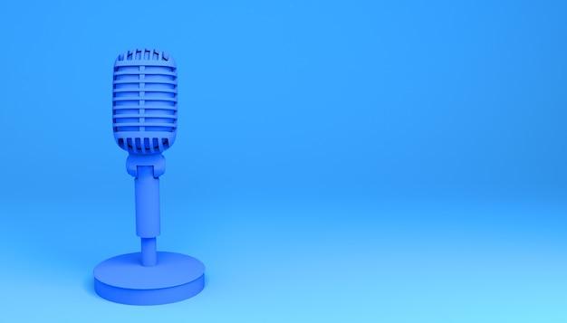 Micrófono de sobremesa con base sobre fondo azul. ilustración 3d.