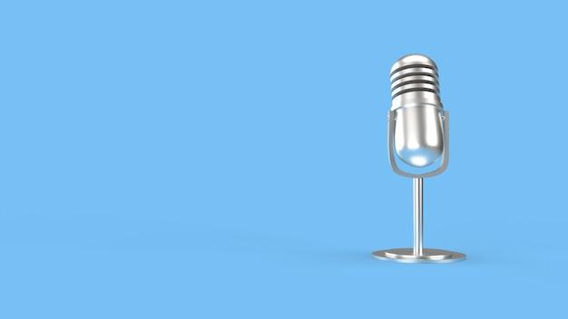 Micrófono vintage en sala azul 3d para contenido de podcast.
