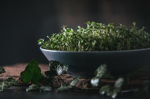 Microgreen en un plato gris sobre una madera rústica