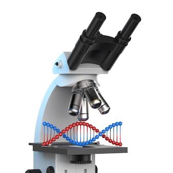 Microscopio de renderizado 3d con hélice de adn sobre fondo blanco.