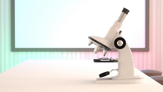 Microscopio sobre la mesa.