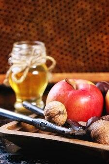 Miel, nueces y manzanas
