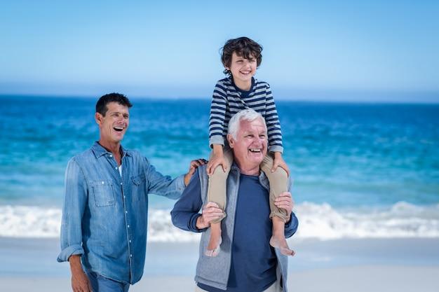 Miembros masculinos de la familia jugando en la playa