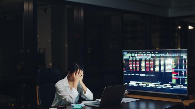 Milenaria joven empresaria china que trabaja a altas horas de la noche estresarse con un problema de investigación del proyecto en la computadora portátil en la sala de reuniones en la pequeña oficina moderna. concepto de síndrome de burnout ocupacional de personas de asia.