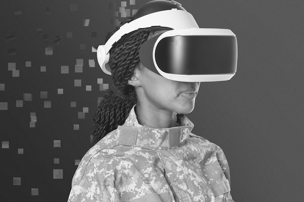 Militar femenino en casco de realidad virtual en estilo de dispersión de píxeles