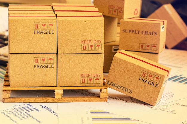 Mini agrupación de cajas de cartón de productos de inversión financiera sobre palet de madera. ideas para armar una cartera de activos que son mantenidos directamente por los inversores. cuyo rendimiento esperado se maximiza.