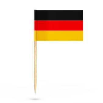 Mini bandera de puntero de alemania de papel sobre un fondo blanco. representación 3d
