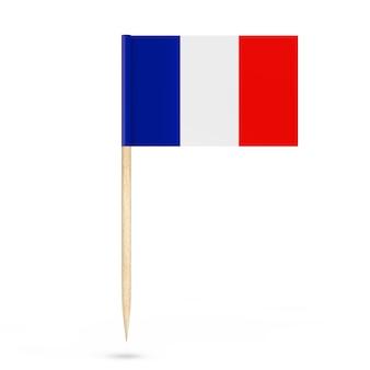 Mini bandera puntero de papel de francia sobre un fondo blanco. representación 3d