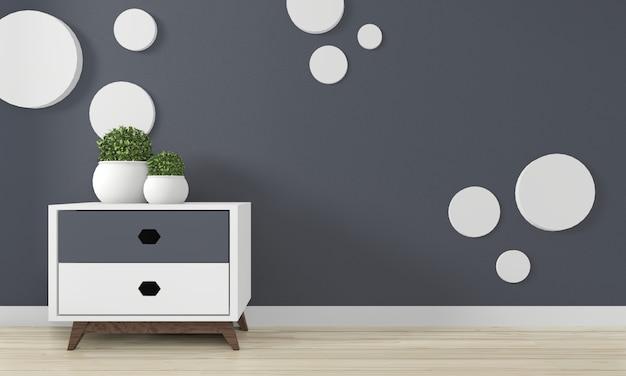 Mini gabinete de diseño minimalista de japón y decoración simulada en el diseño interior de la habitación zen.