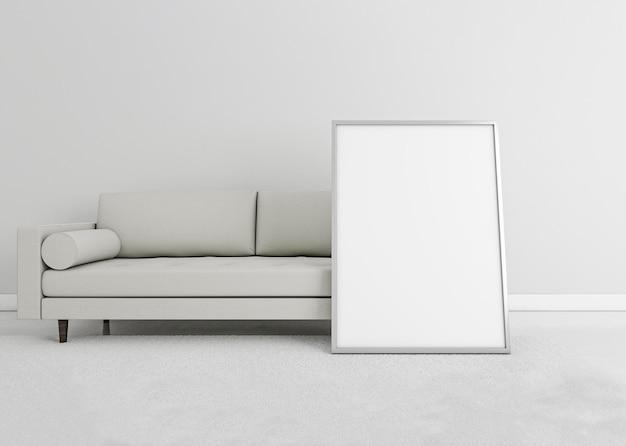 Minimal sofá interior con marco