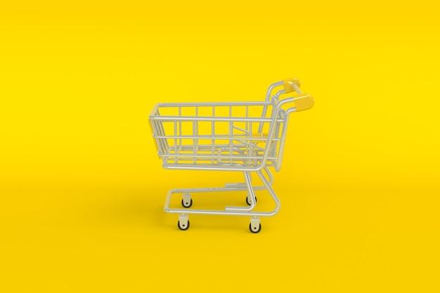 Minimalista vacío vista superior mini carrito de compras o carrito de compras sobre fondo amarillo, concepto de compras en el supermercado. representación 3d