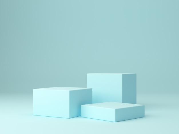 Mínimo podio de cajas hexagonales. escena con formas geométricas.