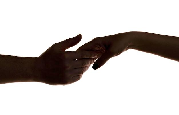 Misericordia, dos manos, silueta, conexión, o, ayuda, concepto, dedo, tocar, manos, silueta, hombre mujer