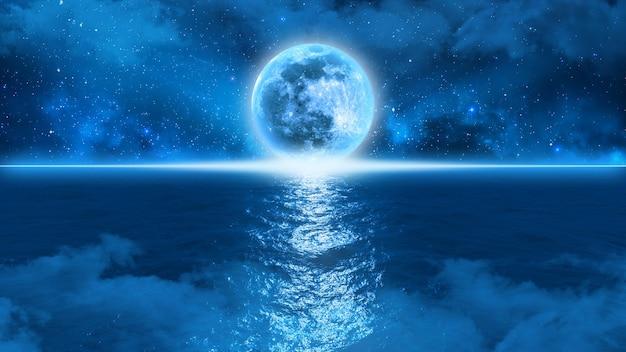 La misteriosa luna azul toca el horizonte en el borde del océano contra un cielo estrellado en la niebla, ilustración 3d