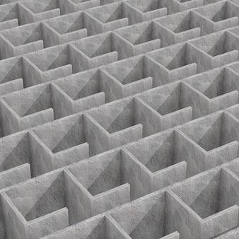 Misterioso laberinto de hormigón infinito laberinto estructura extreme closeup. representación 3d