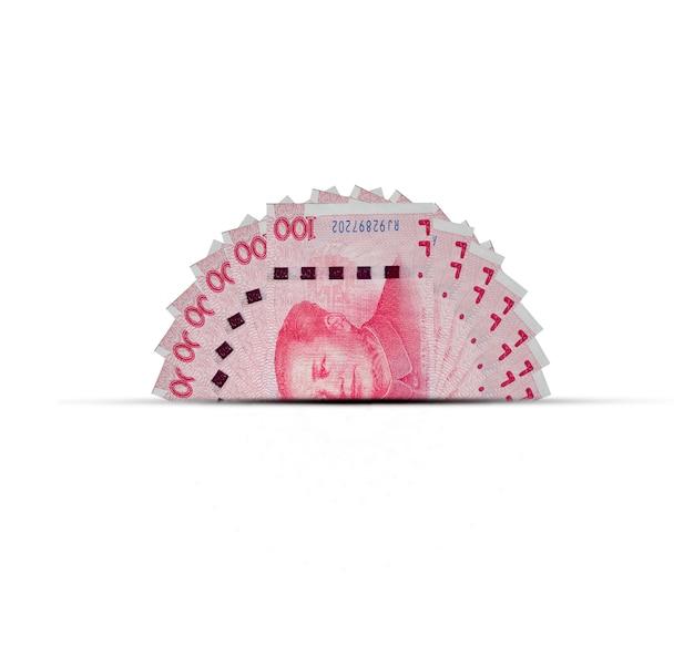La mitad del billete de banco de china yuan. el yuan es la moneda mundial y popular para el intercambio con otros.