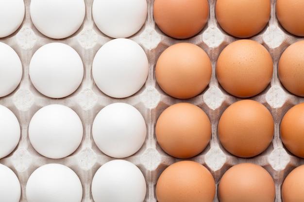Mitad de huevos blancos y mitad de color