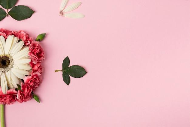 Mitades de flores con fondo rosa espacio de copia