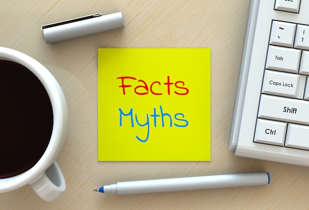 Mitos sobre los hechos, mensaje en papel, computadora y café en la mesa, renderizado 3d