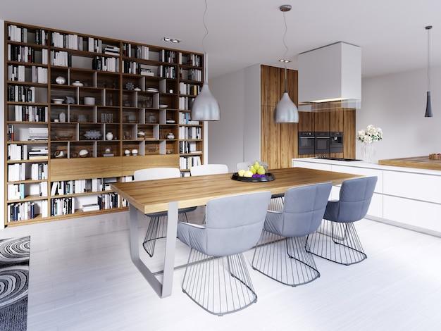Mobiliario de cocina en el auditorio del aula. representación 3d.