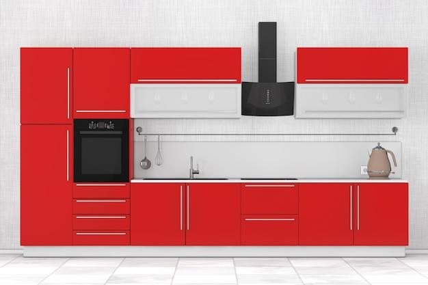 Mobiliario de cocina rojo moderno con menaje de cocina sobre un fondo blanco. representación 3d