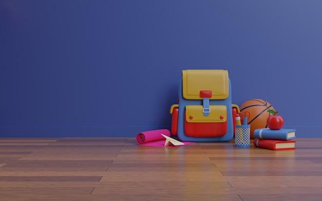 Mochila de baloncesto y equipo de papelería sobre piso de madera fondo de representación 3d