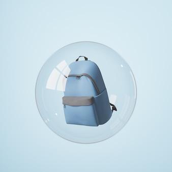 Mochila escolar cubierta por una esfera de cristal con reflejos de ventana. concepto de aislamiento, coronavirus y regreso a clases. render 3d