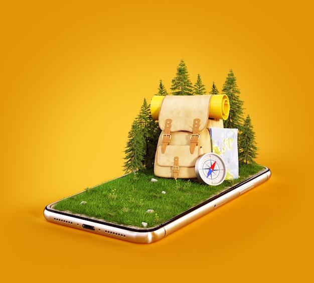 Mochila turística con mapa y brújula en campo de hierba en la pantalla de un teléfono inteligente
