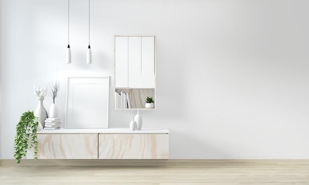 Mock up armario en sala blanca moderna