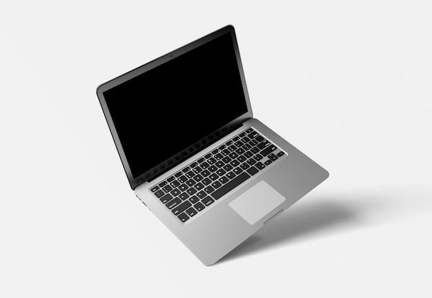 Mock up de una computadora aislada en un fondo con sombra