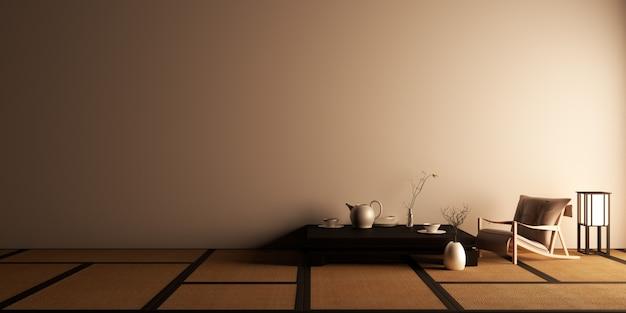 Mock up, diseñado específicamente en estilo japonés, habitación vacía. representación 3d